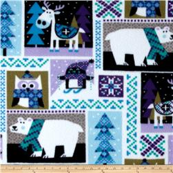 Printed Fleece Winter Animals Lilac