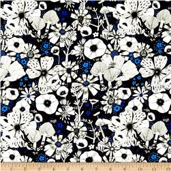 Cotton & Steel Cat Lady Rayon Challis Hiding Spot Black