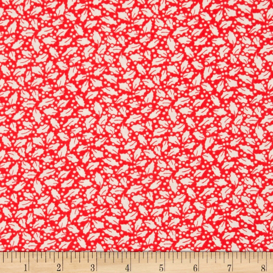 Storybook Christmas Holly Red Fabric By The Yard