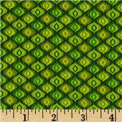 Calypso Frogs Diamonds Lime Fabric