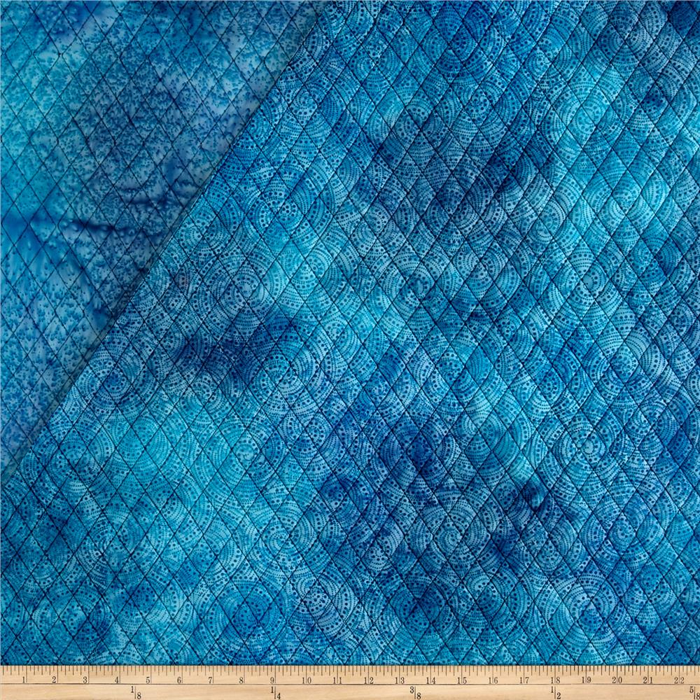 Double Face Quilted Indian Batik Circle Dots Light Blue