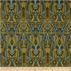 Timeless Treasures Majesty Metallic Paisley Blue