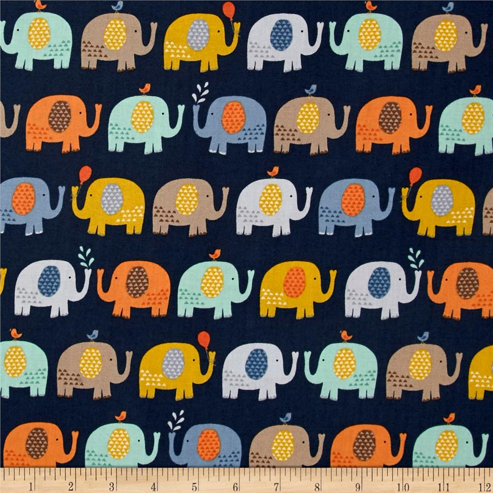 Baby Jungle Elephants Blue