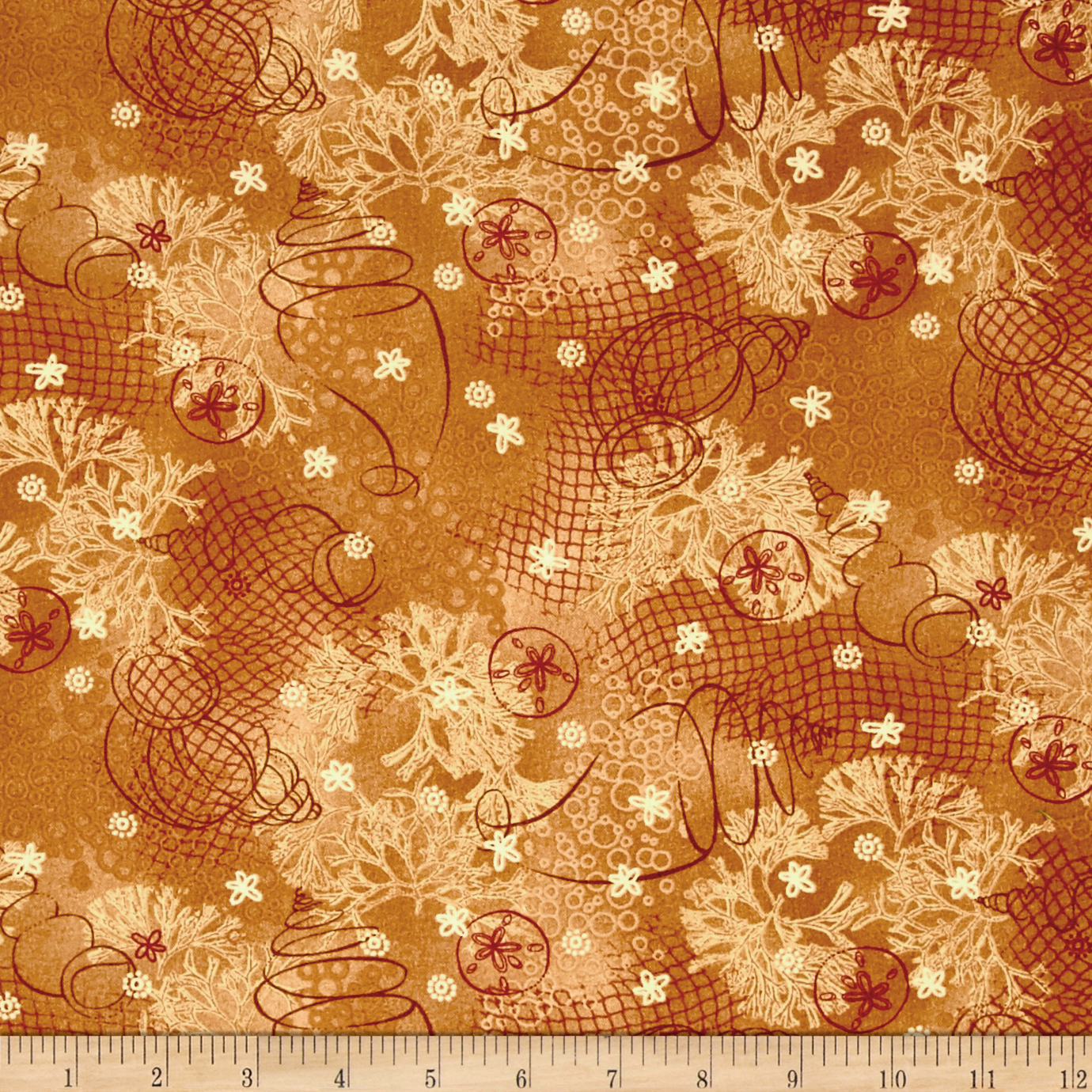 Better At The Lake Shells Cheddar Fabric by Henry Glass in USA