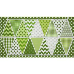 Riley Blake Holiday Banners Panel Lucky Green Fabric