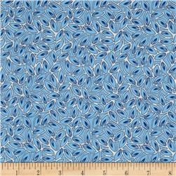 Kaufman London Calling Lawn Leaves Blue