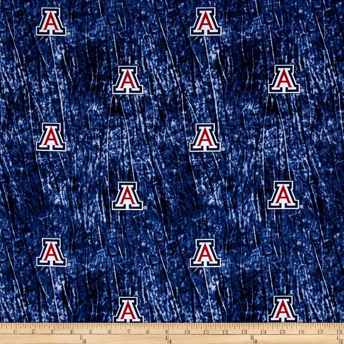 Collegiate Cotton Broadcloth University of Arizona Tie Dye Print Navy Fabric By The Yard
