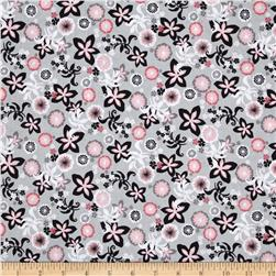 Flamingo Floral Collage Gray
