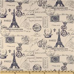 Premier Prints French Stamp Navy/Natural