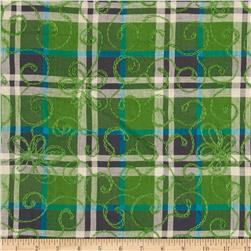 Embroidered Madras Plaid Green/Blue