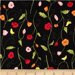 Poppy Patio Small Floral Black