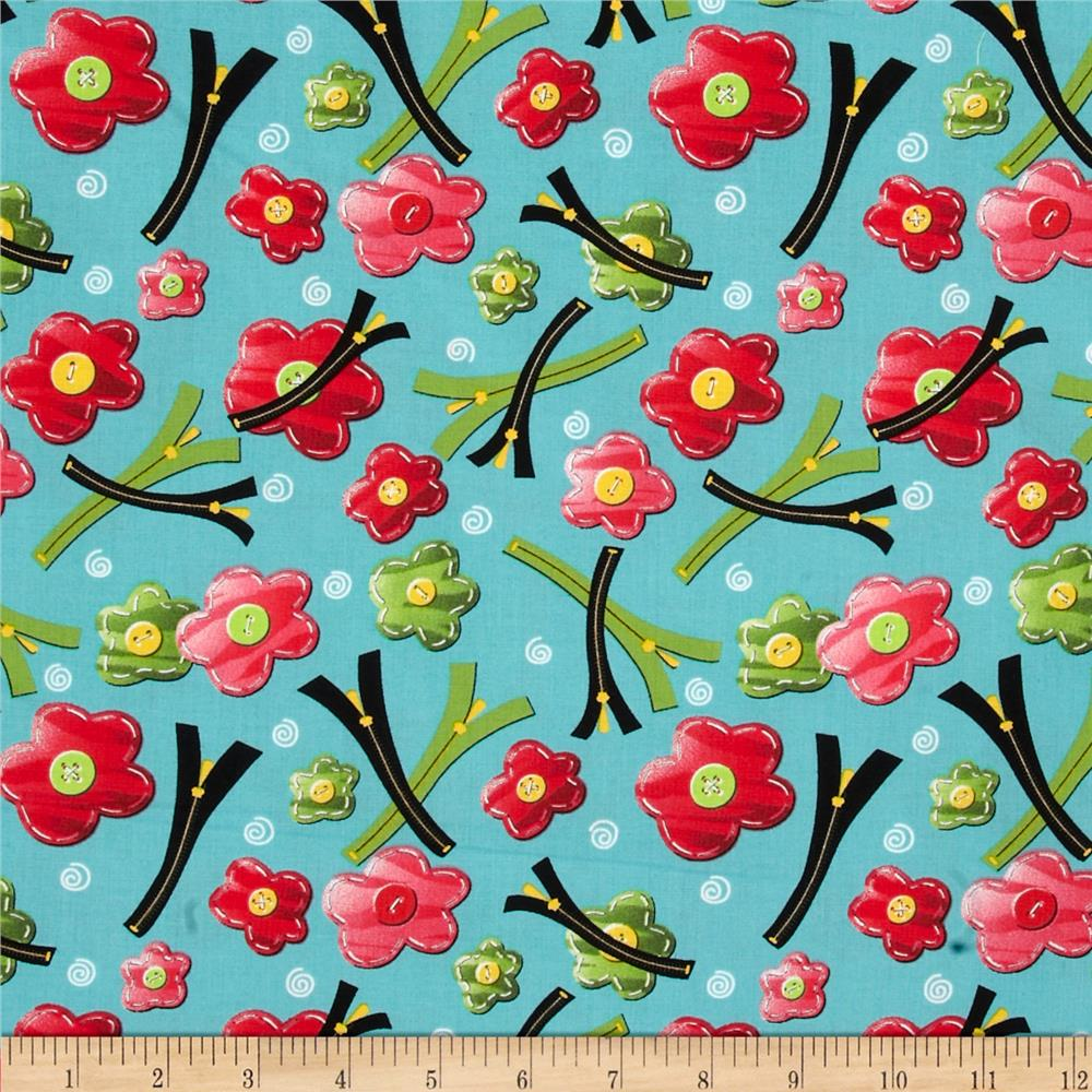 Sew What Flower Pins W/ Zippers Blue