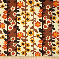 Auntie's Attic Floral Stripe Canvas Retro Fabric