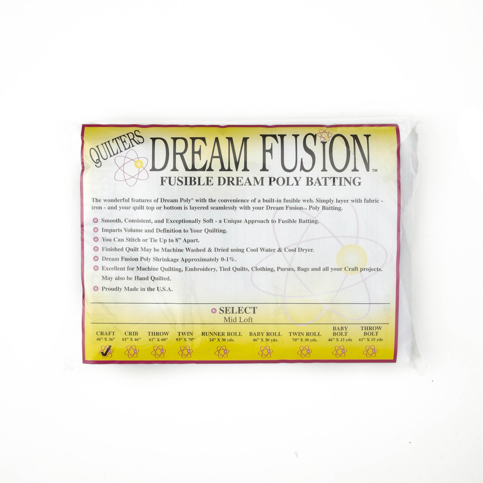 Quilter's Dream Fusion Poly Select Batting (46'' x 36'') Craft by Quilter's Dream in USA