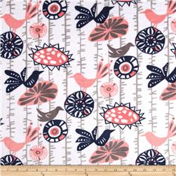 Premier Prints Mockingbird Minky Cuddle Menagerie Coral