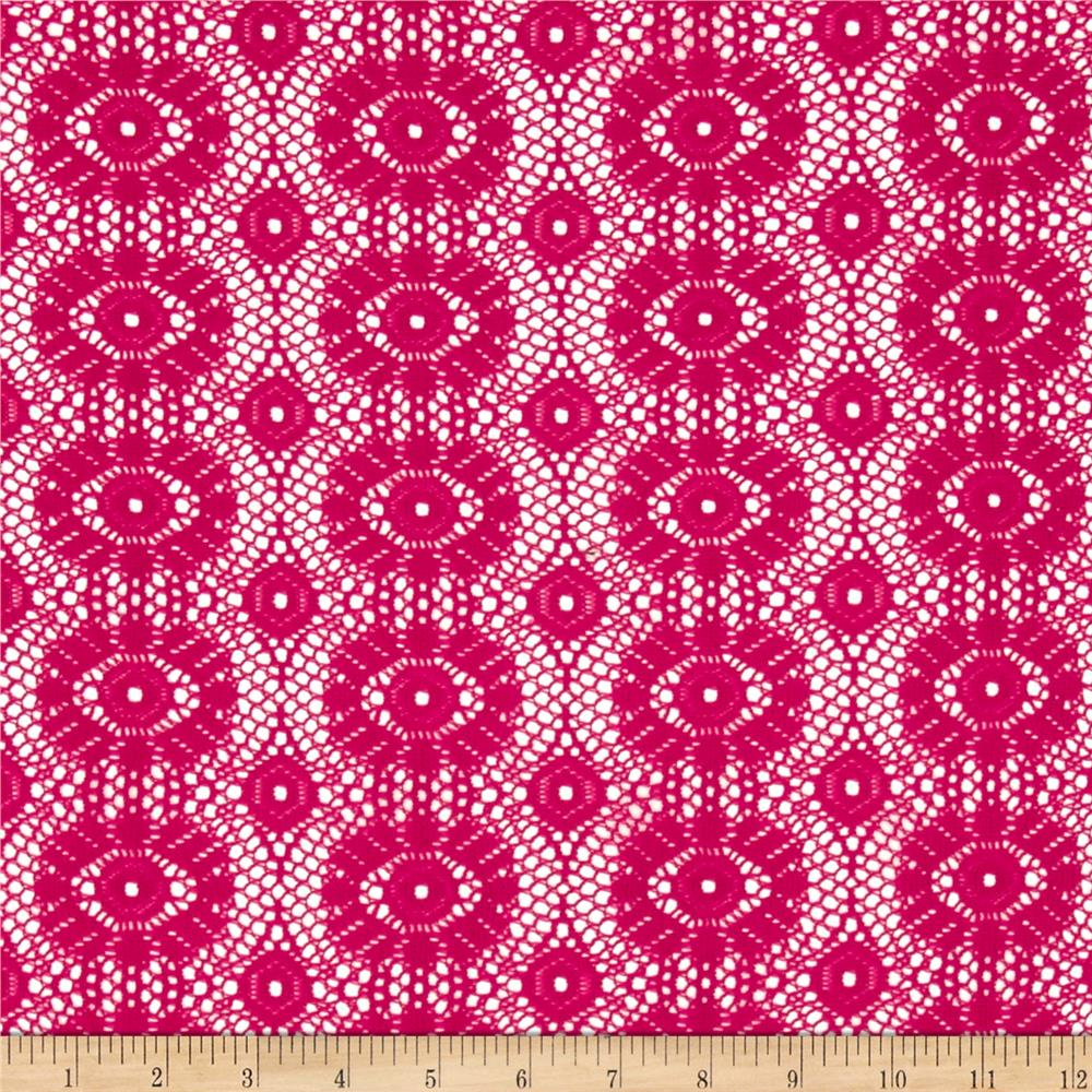 Crochet Lace Medallion Fuchsia