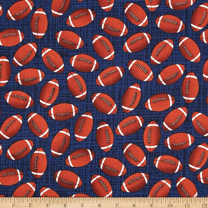 Timeless Treasures Footballs Navy