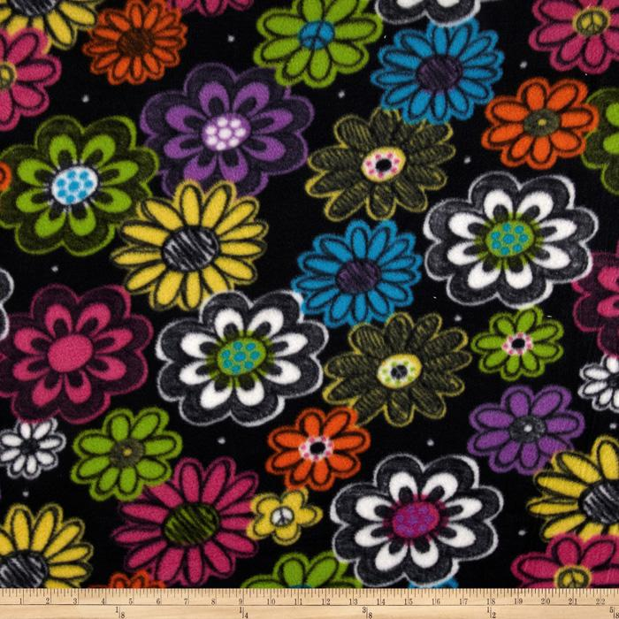 Fleece Flowers Black/Purple