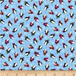 Timeless Treasures Christmas Minis Penguins Sky