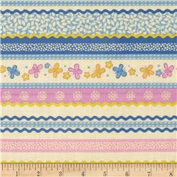 Backyard Butterfly Ribbon Stripe Periwinkle Fabric