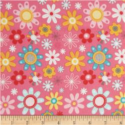 Riley Blake Girl Crazy Flannel Floral Pink Fabric