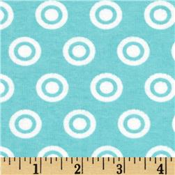 Alpine Flannel Basics Circle Dots Aqua/White