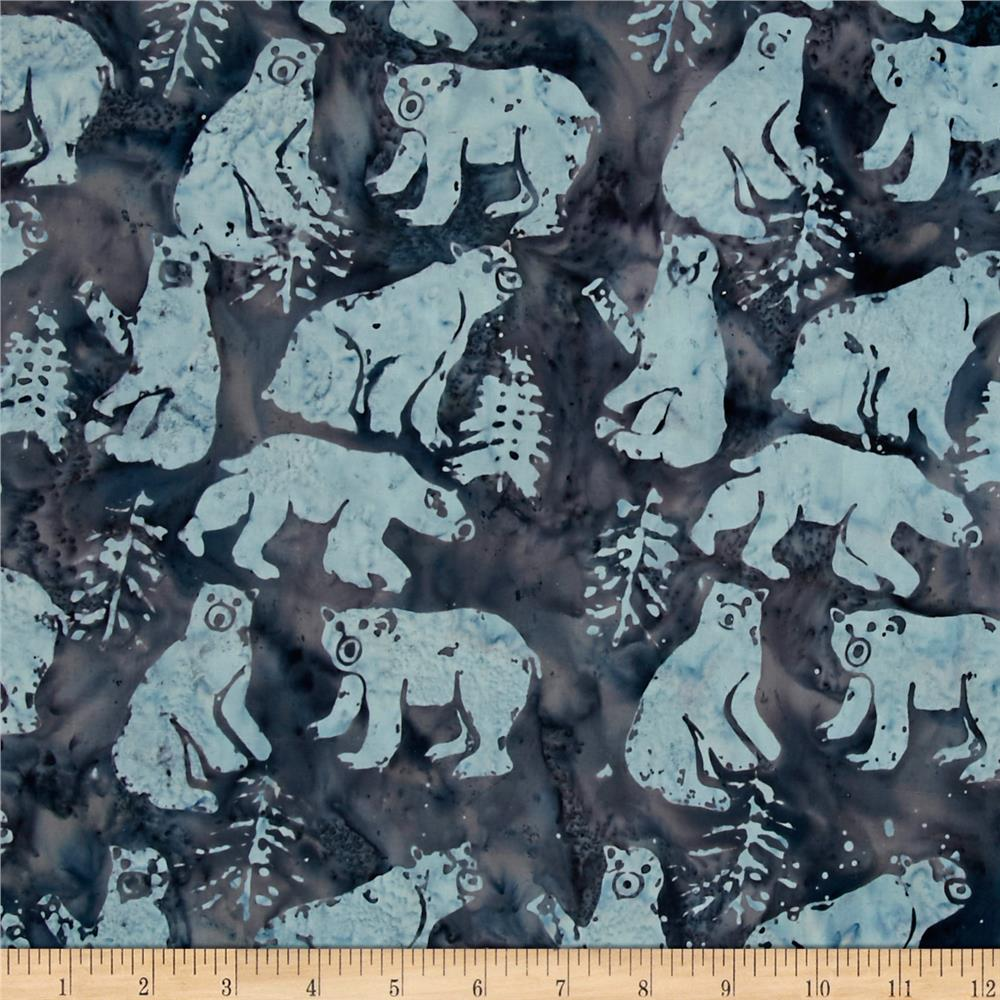 Island Batik Tinsel Bear Blue/Gray