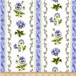 Botanical Blues Flowers & Stripes Cream/Blue