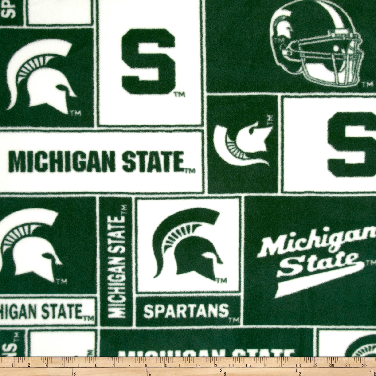 Collegiate Fleece Michigan State University Blocks Fabric