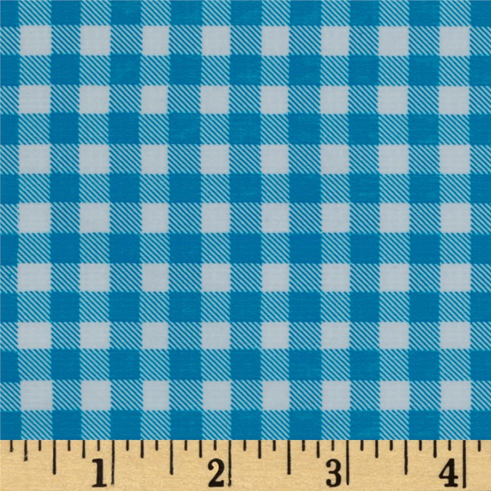 Oil Cloth Gingham Sky Blue