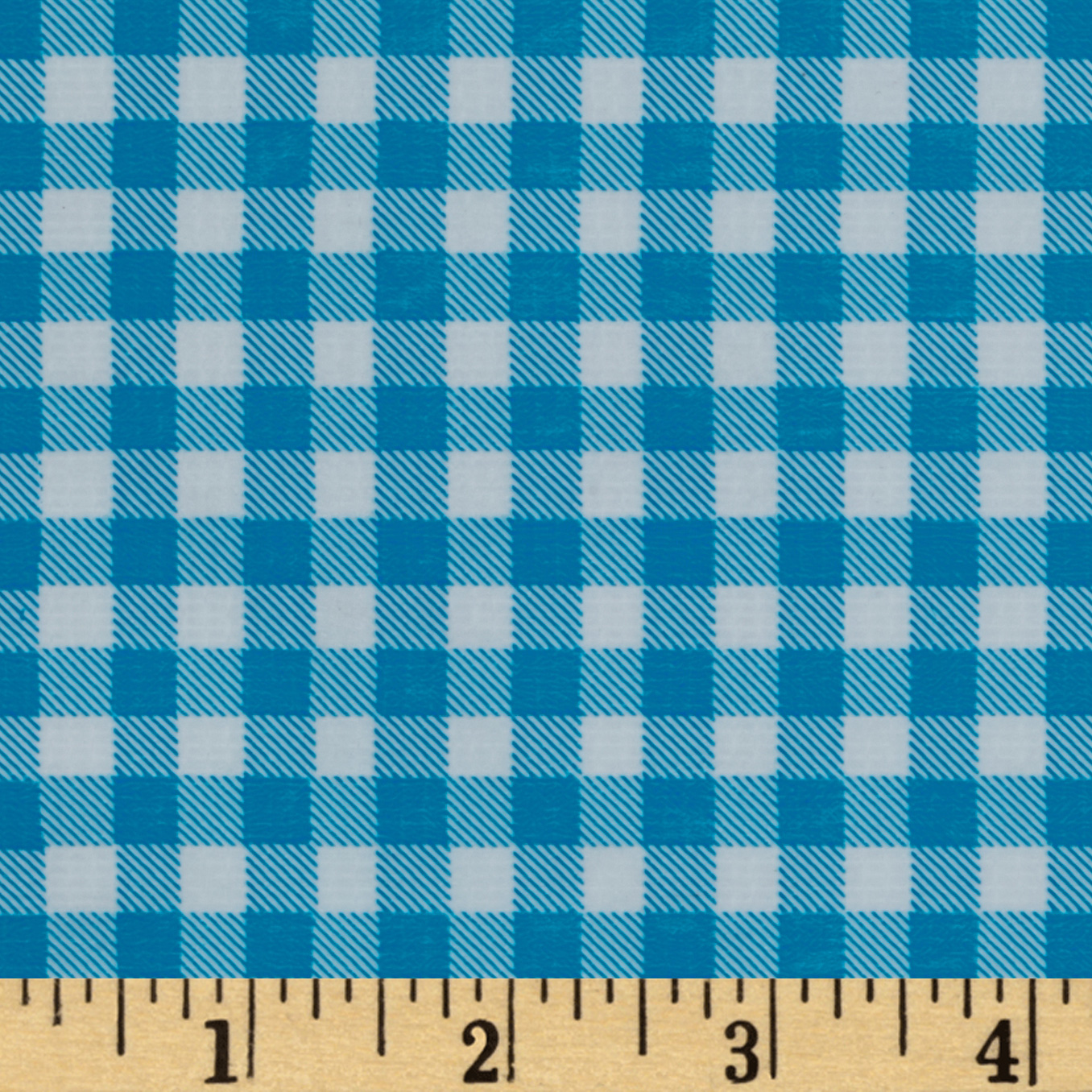Oilcloth Gingham Sky Blue Fabric by Oilcloth International in USA
