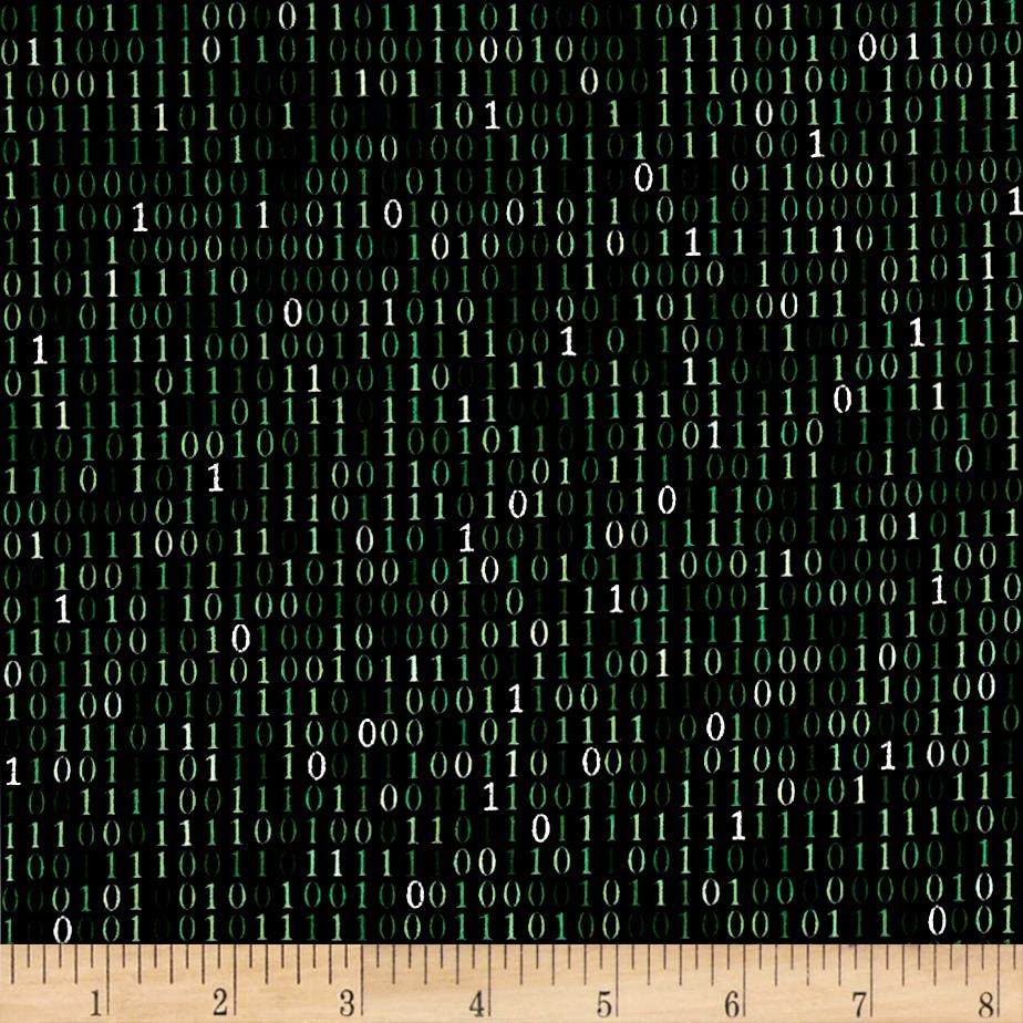 Silver Circuits Metallic Binary Code Green