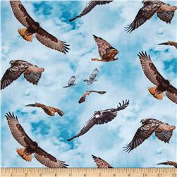 North American Wildlife Red Tail Hawk Blue Fabric