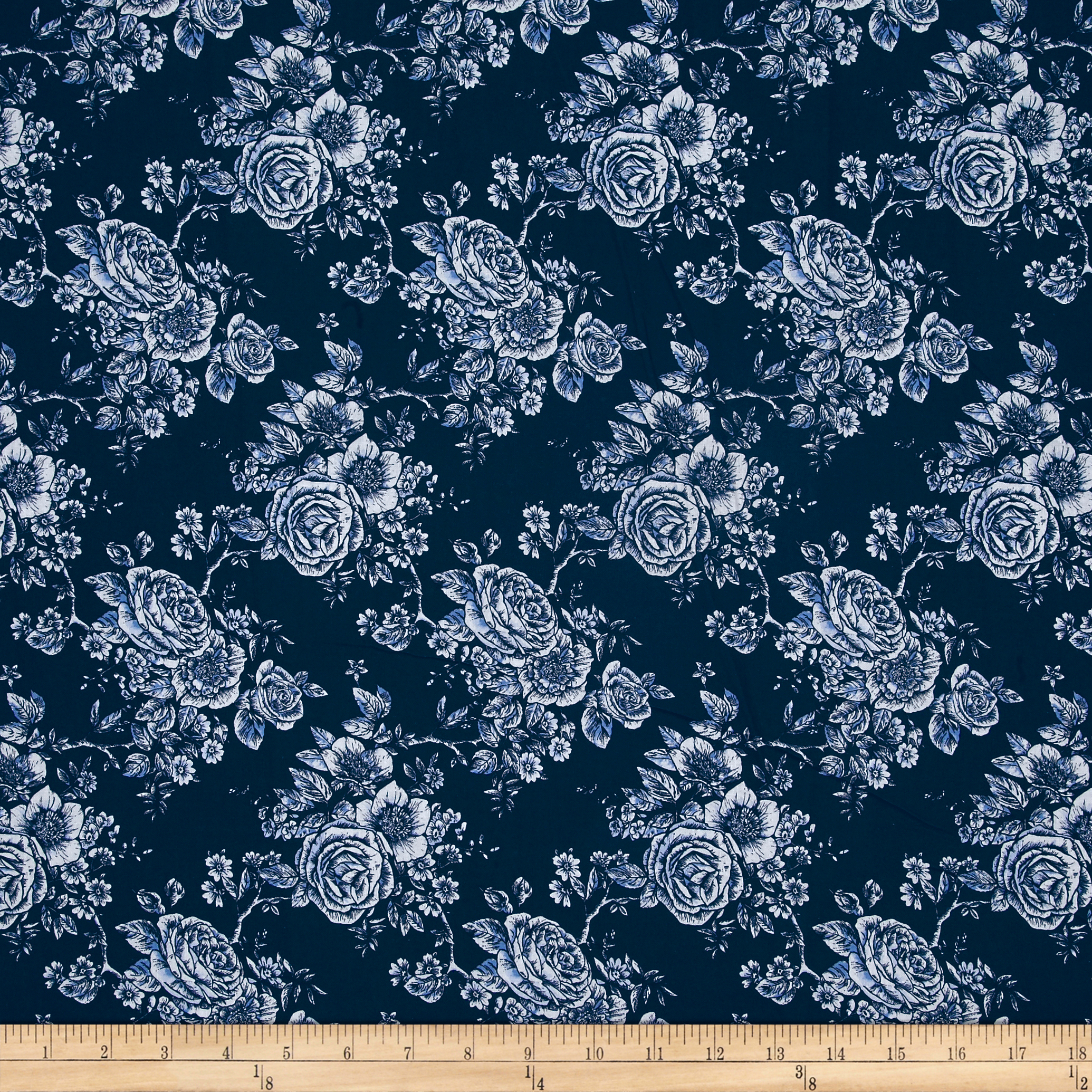 Rose Toile 108'' Wide Back Navy Fabric by Stardom Specialty in USA