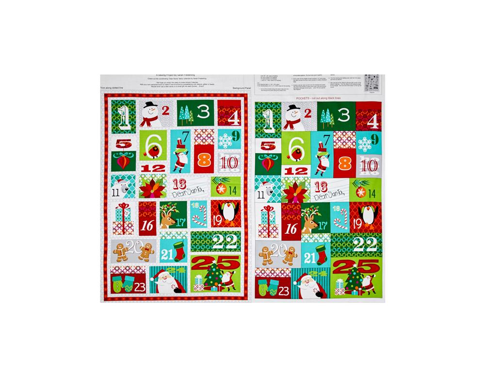 Dear Santa Advent Calendar 35 In. Panel Multi