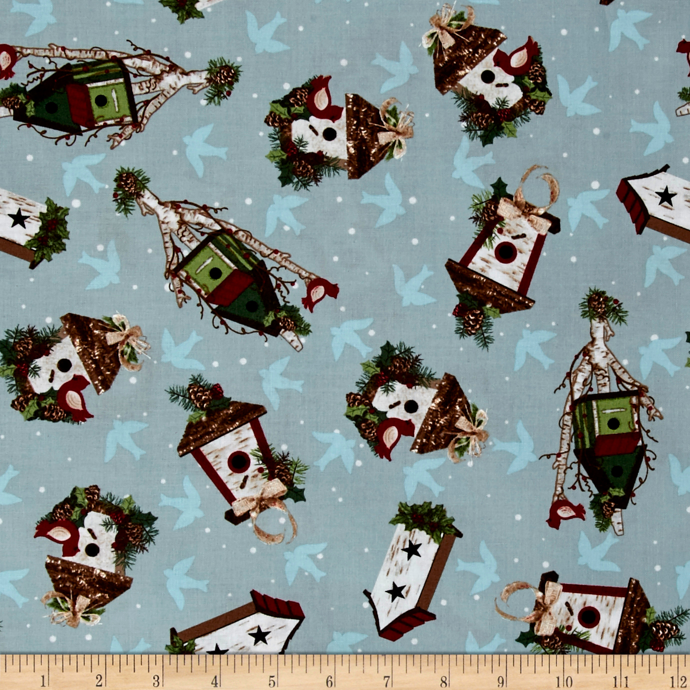 A Christmas To Remember Birdhouses Light Blue Fabric by Stardom Specialty in USA