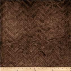 Minky Cuddle Embossed Chevron Brown Fabric