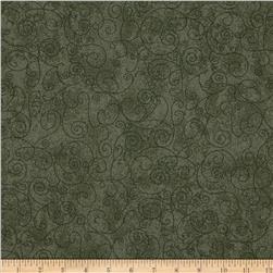 "110"" Wide Flannel Scroll Olive"