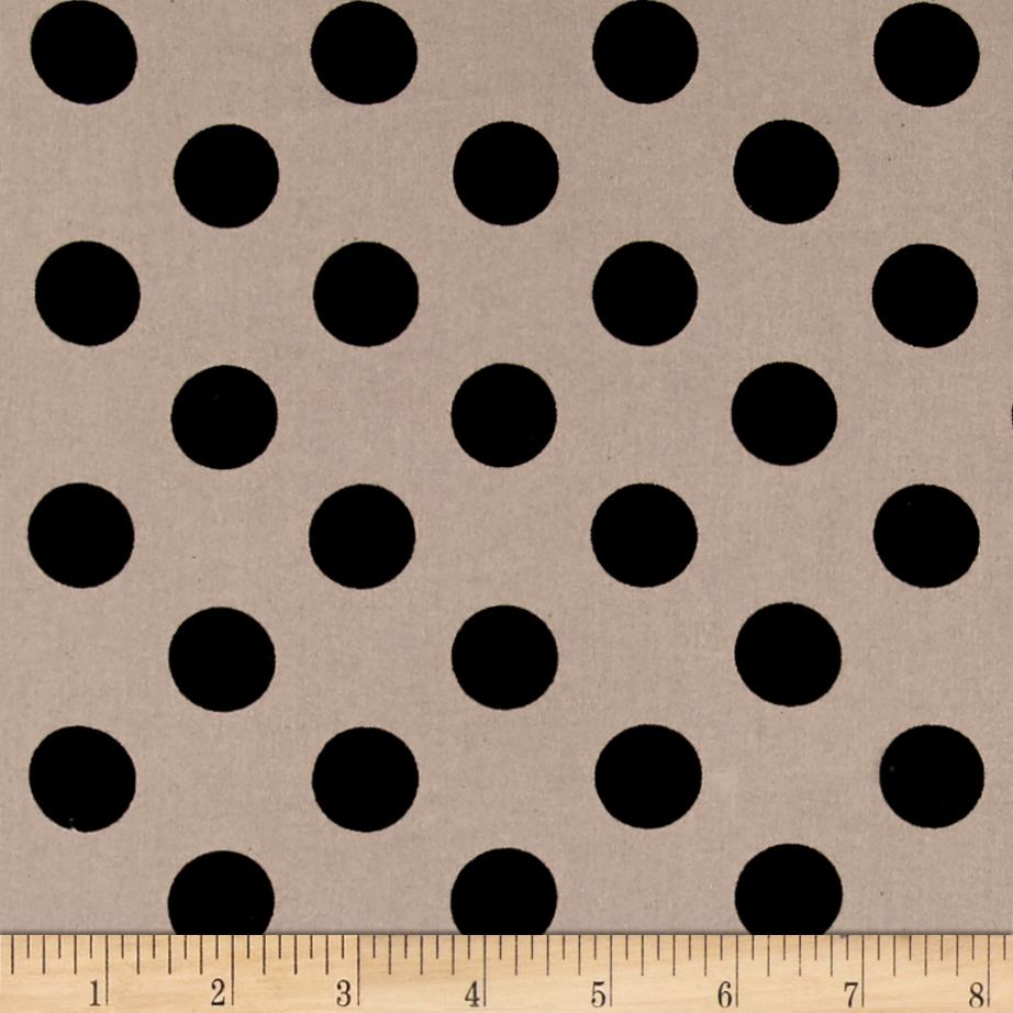 Rayon Challis Medium Dots Black Khaki