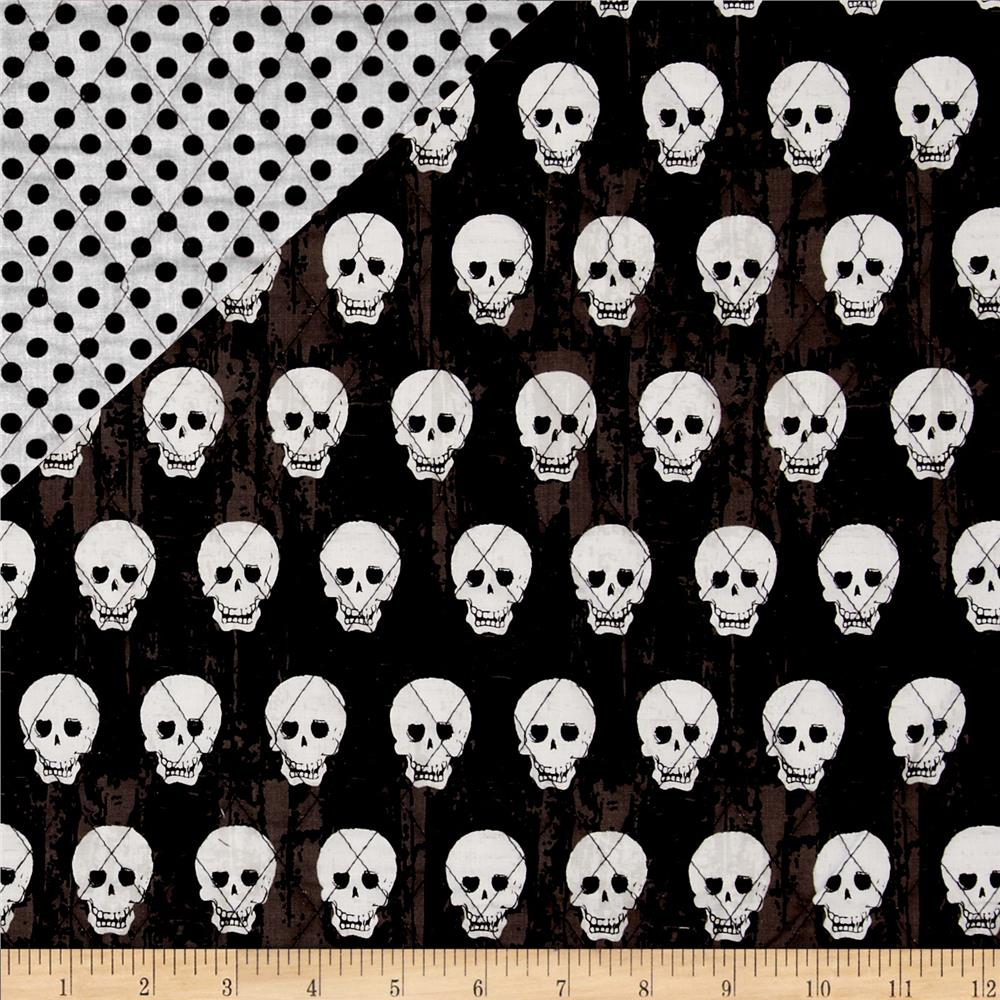 Riley Blake Double Sided Quilted Skulls Black