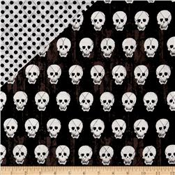Riley Blake Double Sided Quilted Skulls Black Fabric