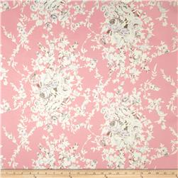 Stretch Satin Twill Floral White/Pink