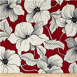 Surf N' Sand Tropicals Large Floral Red Fabric