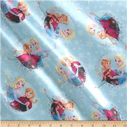 Disney Frozen Sisters Ice Skating Snowflake Badge Metallic Brushed Back Satin Ice Blue