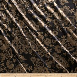 Charmeuse Satin Minsk Floral Black/Brown Fabric