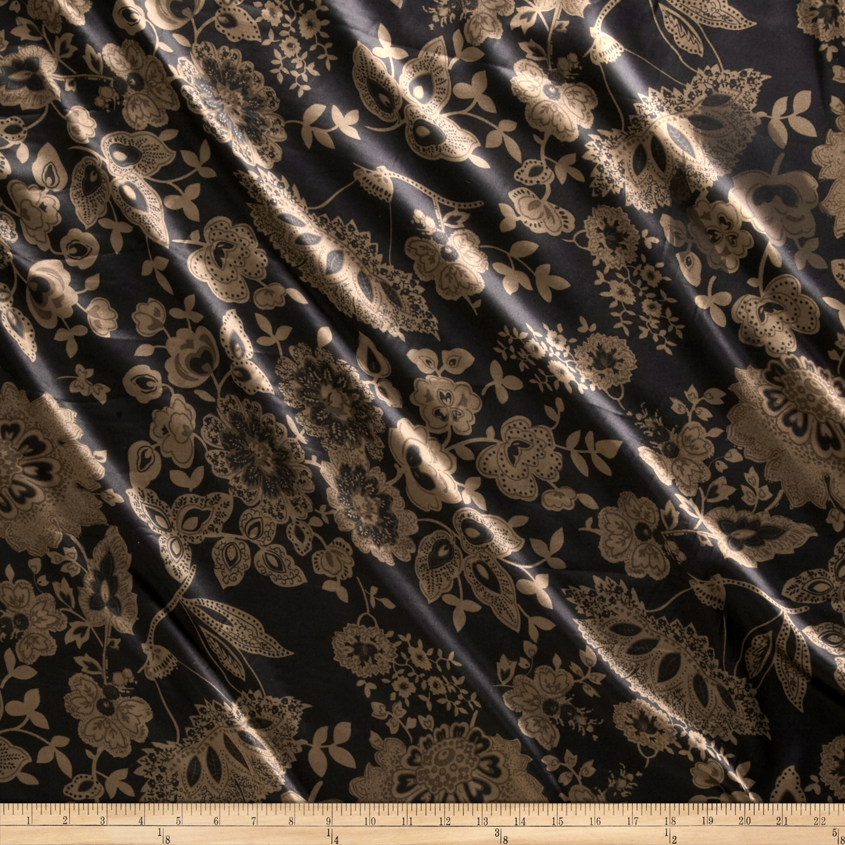 Charmeuse Minsk Black/Brown Fabric by Newcastle in USA