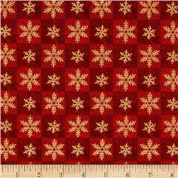 Seasons Greetings Snowflake Squares Red