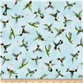 Hummingbirds In Flight Pale Teal