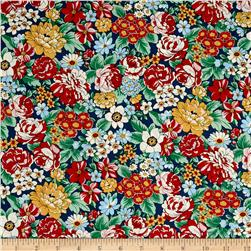 Kaufman London Calling Lawn Large Floral Red Fabric