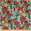 Kaufman London Calling Lawn Large Floral Red